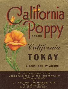 California Poppy Tokay for Jessamine Wine vintage wine label