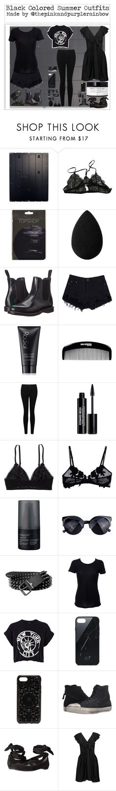 """""""Black Colored Summer Outfits"""" by thepinkandpurplerainbow ❤ liked on Polyvore featuring Anine Bing, beautyblender, Dr. Martens, Rodial, shu uemura, Miss Selfridge, Edward Bess, Aerie, La Perla and Living Proof"""
