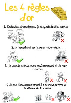 """Règles d'or"" -- four rules (in French) for encouraging appropriate classroom behavior (and reminding me of the relevant vocab) French Classroom, Classroom Rules, Classroom Organization, Classroom Management, Classroom Behavior, French Teaching Resources, Teaching French, French Proverbs, Kindergarten Language Arts"