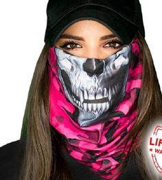 Pink Military Camo Skull Multi Purpose Face Shield Balaclava Bandana Neck Gaiter Buff Sun Mask Neckerchief by VaderUnlimited on Etsy