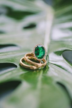 Stylish Tropical Wedding Inspiration for the Modern Bride Emerald green and yellow gold engagement ring and wedding bands Floral Headpiece, Gold Engagement Rings, Wedding Bands, Wedding Ceremony, Reception, Wedding Inspiration, Wedding Ideas, Tropical, Emerald Green