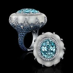 From the 'Jewels of BH' range is this 15 ct White Gold Ring with Oval Paraiba, Hand Carved Quartz, Blue Sapphires and Diamonds by 'Robert Procop Exceptional Jewels' ♥≻★≺♥