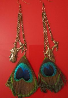Peacock Feather Earrings with Feather Charms by HappyLoveJoy, $15.00
