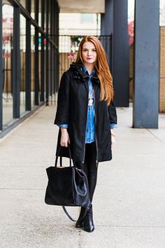 13 Gorgeous Petite Gals & Their On-Point Style #refinery29  http://www.refinery29.com/petite-fashion#slide7  Who she is: Alison Coglianese of Chain Strap PurseWhy we love her look: We're big fans of head-to-toe black with a little something extra, and this outfit is just that. A dramatic coat with an embellished collar, sleek leather leggings, a gorgeous bag — all grounded by a classic chambray shirt. It's perfection!     Kensie swing coat, Target shirt, Windsor leggings, Forever 21 booties…