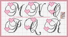 Ponto Cruz da Samsara: Monograma de coração!