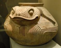 This large ceramic vessel is said to come from the state of Veracruz Mexico.What an amazing toad. May be from the Huasteca region