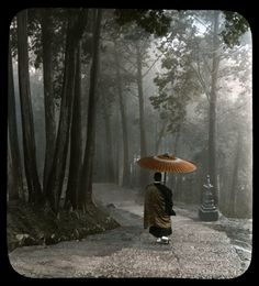 https://flic.kr/p/4BuP17   MONK DESCENDING TEMPLE STEPS -- Light Breaks Through Clouds After a Morning Rain   This photograph on glass is a hundred years old, but looks like it could have been taken yesterday. The eye and heart of a good photographer is the same in any age.   Ca.1900-1910 Hand-tinted Glass Lantern Slides sold by T. TAKAGI of KOBE. Photos attributed to KOZABURO TAMAMURA of Yokohama, who sold his negative stock and Kobe branch studio to Takagi.   Takagi also published many…
