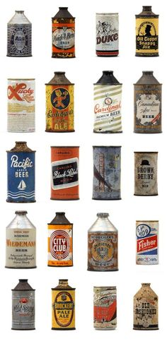 Antigas latas de cerveja.