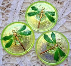 3 Modern Czech art glass buttons, 31mm luster backed uranium glass dragonfly.