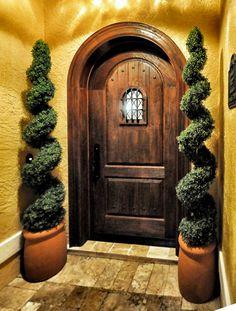 Old World Exterior Wood Front Entry Door Style Wood Entry Doors, Rustic Doors, Entrance Doors, Arched Front Door, Front Entry, Patio Entry Ideas, Spanish Front Door, Speakeasy Door, Mediterranean Doors
