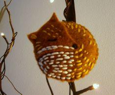 Christmas red fox felt ornament DIY
