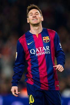Lionel Messi of FC Barcelona reacts during the La Liga match between FC Barcelona and Club Atletico de Madrid at Camp Nou on January 11, 2015 in Barcelona, Catalonia.