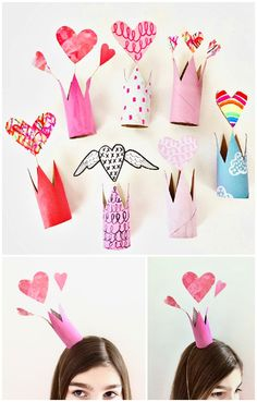 Recycled Valentine Paper Tube Crowns Art Project for Kids