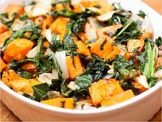 Roasted Yams and Kale - yum! http://www.ivillage.com/kale-recipes-thanksgiving/3-a-551669