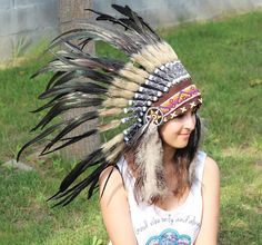 N63- Indian Black natural  colour Feather Headdress / Warbonnet. by theworldoffeathers. Explore more products on http://theworldoffeathers.etsy.com