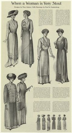 When a woman is very stout. From Ladies' Home Journal, October 1910. Designs by Mary Adams, with drawings by Paul W. Furstenberg.