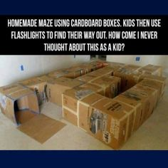 Cardboard box maze - We are SO doing this after the next move!!!