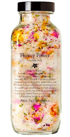 This appears to make a wonderful soak in the tub a glorious soak in the tub. Flower Power contains pampering salts, flowers, and especially essential oils for an organic bath.