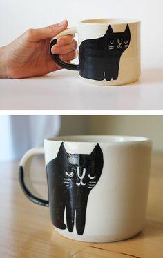Cat coffee mug by Beardbangs // illustrated ceramics