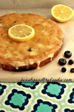 Paleo Lemon Blueberry Poke Cake | grain free & paleo with a low carb version. beautyandthefoodie