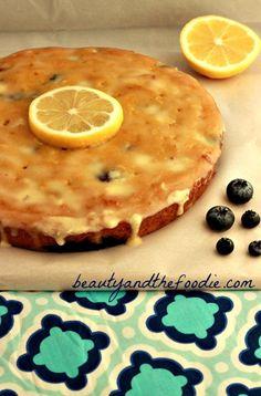 Paleo Lemon Blueberry Poke Cake | grain free & paleo with a low carb version. beautyandthefoodie
