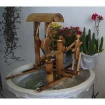 Fonte De Água De Bambu Decorativa Com Cascata E Monjolo