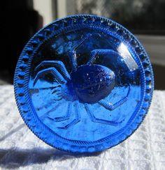 VERY RARE ANTIQUE COBALT BLUE GLASS HAT PIN W/SPIDER $79.00