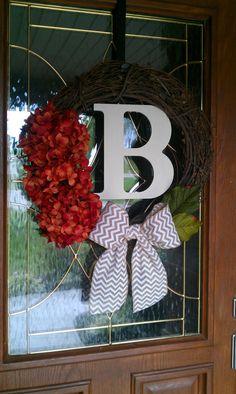 Fall Halloween Wreath Orange Hydrangea by simplystunninghome