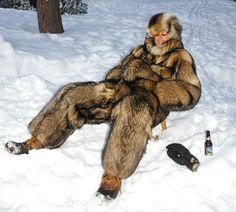 finnish raccoon fur snow suit