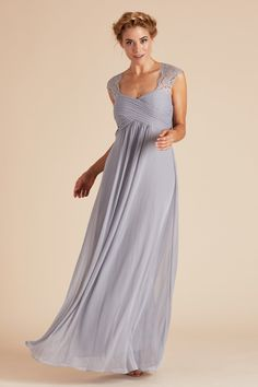73b7861d88c9 Silver gray lace empire waist bridesmaid under $100 by Birdy Grey Maternity  Bridesmaid Dresses, Bridesmaid