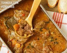 carrillera de ternera con verduras y salsa oporto