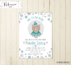 winter baby shower invitation woodland baby shower baby it's cold outside baby shower christmas invitation bear invitation boy baby shower by RebeccaDesigns22