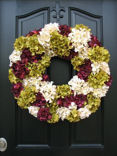 Autumn Wreaths, Fall Hydrangea Wreath, Fall Wreaths, Fall Hydrangeas, Front Door Wreaths, Holidays, Oktoberfest, Hydrangea Wreath. $140.00, via Etsy.