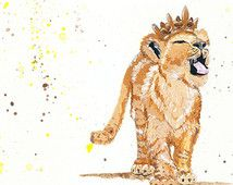 Check out our lion cub prints selection for the very best in unique or custom, handmade pieces from our art & collectibles shops. Lion King Nursery, Lion King Art, Nursery Art, Crown Painting, Crown Drawing, Castle Theme Classroom, Lion Cub Tattoo, Cup Tattoo, Watercolor Animals