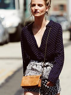 Free People Printed Ruffle Hem Buttondown at Free People Clothing Boutique