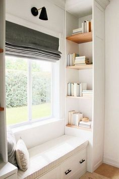 built in window seat with pillows and built in bookcases for niche, kid room win. built in window seat with pillows and built in bookcases for niche, kid room window seat, living room window seat ideas or in hallway niche built-ins Living Room Windows, Living Room Decor, Bedroom Decor, Living Room Nook, Built In Cupboards Living Room, Living Room And Bedroom In One, Alcove Ideas Living Room, Living Room Built Ins, Bedroom Ideas