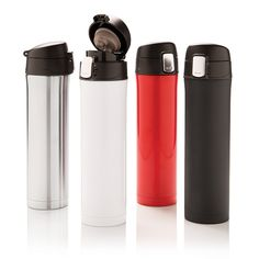 Easy lock vacuum flask: Double wall stainless steel vacuum flask that keeps your drink warm up to 6 hours or cool up to 4 hours. The lid is lockable and therefore avoids any risk of leaking or spilling.