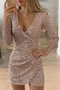 New Fashion Long Sleeve Sequin Deep V neck women slim fit mini dress Lace Homecoming Dresses, Hoco Dresses, Pretty Dresses, Elegant Dresses, Beautiful Dresses, Dress Outfits, Evening Dresses, Fashion Dresses, Dresses For Vegas