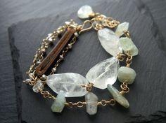 Aquamarine Bracelet Leather Bracelet Multi Strand Bracelet
