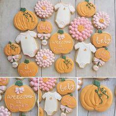 Little Pumpkin Theme Baby Shower Cookies Pumpkin Sugar Cookies Decorated, Halloween Sugar Cookies, Pumpkin Spice Cookies, Iced Sugar Cookies, Baby Cookies, Baby Shower Cookies, Horse Cookies, Summer Cookies, Heart Cookies