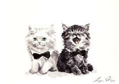 https://www.pinterest.com/LineBotwin/g-i-r-l-y-i-l-l-u-s-t-r-a-t-i-o-n-s/ Black and White Kitties 5 x 7 Giclee Print of by LauraRowStudio, $13.00