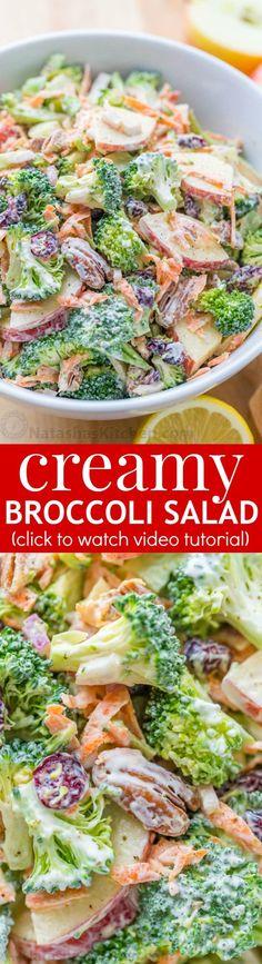 Broccoli Salad Recipe with Creamy Lemon Dressing (VIDEO) (Natasha&;s Kitchen) Broccoli Salad Recipe with Creamy Lemon Dressing (VIDEO) (Natasha&;s Kitchen) Julia Reilly Recipes This broccoli salad recipe with creamy […] to cook Broccoli head Apple Salad Recipes, New Recipes, Cooking Recipes, Favorite Recipes, Healthy Recipes, Recipes Dinner, Healthy Salads, Healthy Eating, Soup And Salad