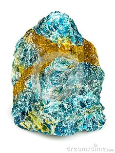 Apatite, phosphate minerals, hydroxylapatite, fluorapatite chlorapatite. Isolated white background.