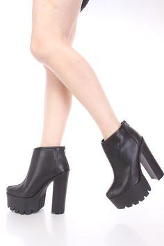 Black Platform Chunky Heel Booties Faux Leather