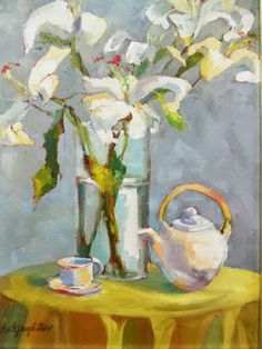 """Daily Painters Abstract Gallery: Still Life Oil Painting With Lilies """"A Fresh Start"""" by Georgia Artist Deanna Jaugstetter"""