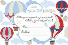 Convite Chá de Bebê para menino, no tema Balão.   Imprima agora mesmo seu convite gratuito para o chá de bebê ! Baby Shower, Hot Air Balloon, Balloons, Instagram, Bernardo, Mary, Pasta, Google, Virtual Baby Shower