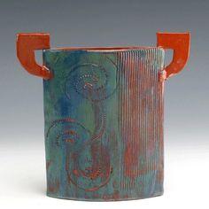 Blue Green Stilt Vase by Littlepigpottery on Etsy
