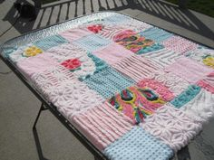 Vintage Chenille Patchwork Baby Quilt - On Etsy...so darling