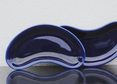 Mod Cobalt Blue Sushi or Dessert Plates, Serving Dishes, Abstract Bean Shape, Set of Four (4) - great color!