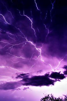 Purple sky white lightning